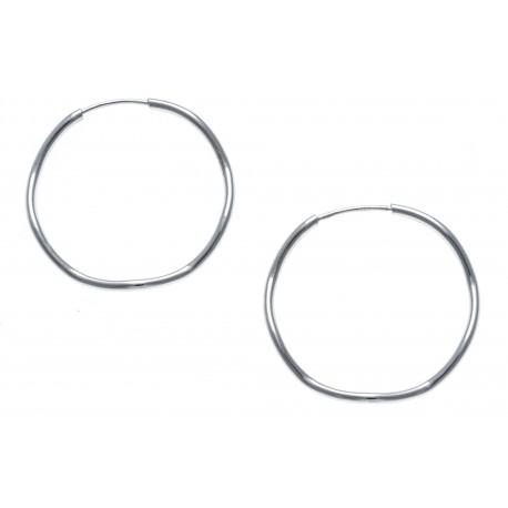 Créoles argent rhodié 1,7g - ondulées - 25mm