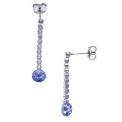 Boucles d'oreille argent rhodié 1,7g - cristal de Swarovski - strass - 3cm