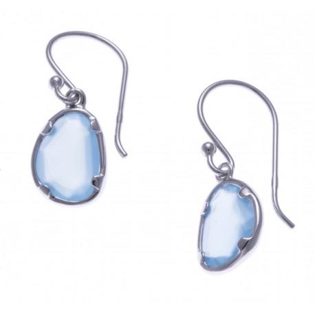 Boucles d'oreille argent rhodié 1,8g - calcedoine bleue