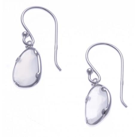 Boucles d'oreille argent rhodié 1,8g - calcedoine blanche