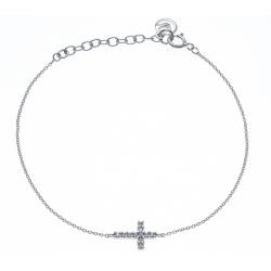 Bracelet argent rhodié 1,9 - croix - zircons - 18+3cm