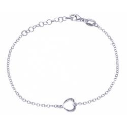Bracelet argent rhodié 1,9g - coeur - zircons - 17+3cm