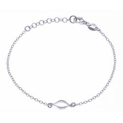 Bracelet argent rhodié 1,9g - ovale - zircons - 17+3cm