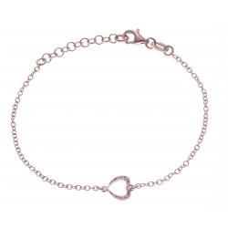 Bracelet argent rhodié 1,9g - coeur - rosé - zircons - 17+3cm
