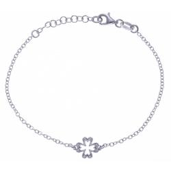 Bracelet argent rhodié 1,9g - trèfle - zircons - 17+3cm