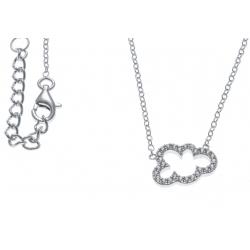 Collier argent rhodié 2g - nuage - zircons - 42+3cm