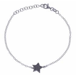 Bracelet argent rhodié 2,1g - 2 tons - noir et rhodié - étoile - 17+3cm