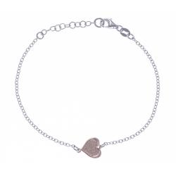 Bracelet argent rhodié 2,2g - 2 tons - rosé et rhodié - cœur - 17+3cm