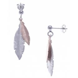 Boucles d'oreille argent rhodié 2,2g - 2 tons - plumes rhodiée et rosé - 3cm