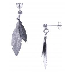 Boucles d'oreille argent rhodié 2,2g - 2 tons - plumes rhodiée et noire - 3cm