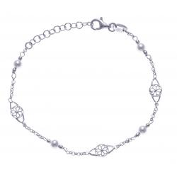 Bracelet argent rhodié 2,3g - perles synthétiques et filigranes - 17+3cm