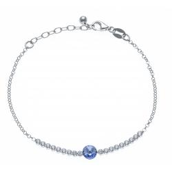 Bracelet argent rhodié 2,3g - cristal de Swarovski - strass - 17+3cm