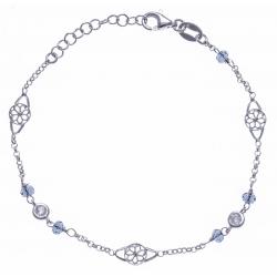 Bracelet argent rhodié 2,4g - cristaux et filigranes - 17+3cm