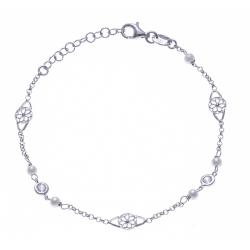 Bracelet argent rhodié 2,4g - boules, cristaux et filigranes - 17+3cm