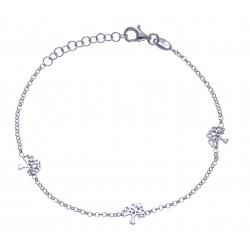Bracelet argent rhodié 2,4g - 3 arbres - 17+3cm