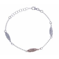 Bracelet argent rhodié 2,4g - 3 plumes 2 tons - rodié - rosé - 17+3cm