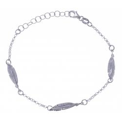Bracelet argent rhodié 2,4g - 3 plumes 2 tons - rodié - noir - 17+3cm