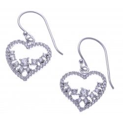 Boucles d'oreille argent rhodié 2,5g - cœur - zircons