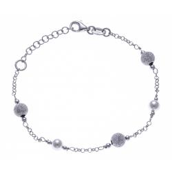 Bracelet argent rhodié 3g - boules diamantées et perles synthétiques - 17+3cm