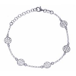 Bracelet argent rhodié 2,7g - ronds filigranés - 17+3cm