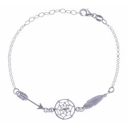Bracelet argent rhodié 2,7g - attrapes rêves +flèche + plume - 17+3cm