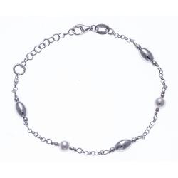 Bracelet argent rhodié 3g - ovales et perles synthétiques - 17+3cm