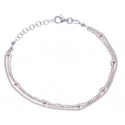 Bracelet argent rodié 3g - 2 tons rosé et rhodié - 3 fils + boule - 17+3cm