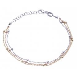 Bracelet argent rhodié 3g - 3 tons rosé, doré et rhodié - 3 fils - 17+3cm