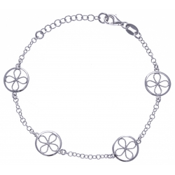 Bracelet argent rhodié 3g - ronds filigranés - 17+3cm