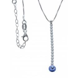 Collier argent rhodié 3g - cristal de Swarovski - strass - fil 4cm -  40+5cm