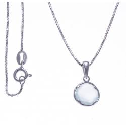 Collier argent rhodié 3g - calcedoine verte - 40cm