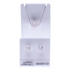 Set argent rhodié 3g collier 40+5cm - boucles d'oreille quartz rose