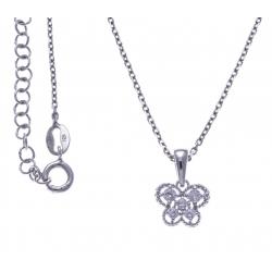 Collier argent rhodié 3,1g - papillon - zircons - 38+5cm
