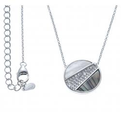 Collier argent rhodié 3,2g - nacre blanche - nacre abalone - zircons - 40+5cm