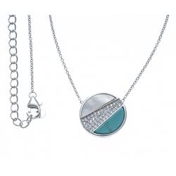 Collier argent rhodié 3,2g - nacre blanche - howlite - zircons - 40+5cm
