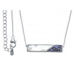 Collier argent rhodié 3,2g - nacre blanche - nacre abalone  - 40+5cm