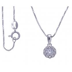 Collier argent rhodié 3,2g - zircons - 40cm