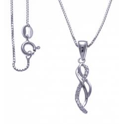 Collier argent rhodié 3,3g - zircons - 40cm