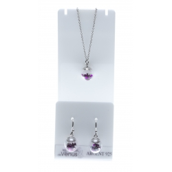 Set argent rhodié 3,4g collier 40+5cm - boucles d'oreille assorties - floating charms fushia