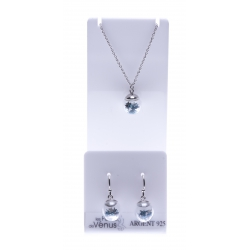 Set argent rhodié 3,4g collier 40+5cm - boucles d'oreille assorties - floating charms bleu marine