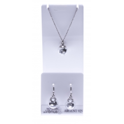 Set argent rhodié 3,4g collier 40+5cm - boucles d'oreille assorties - floating charms argentés