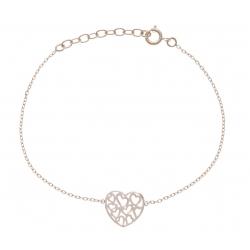Bracelet plaqué or - cœurs ajourés - 17+3cm