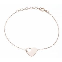 Bracelet plaqué or - cœur - 17+3cm