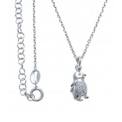 Collier argent rhodié 3,5g - pinguin - 38+5cm