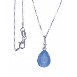Collier argent rhodié 3,6g - cristal de Swarovski - summer blue - 40+5cm