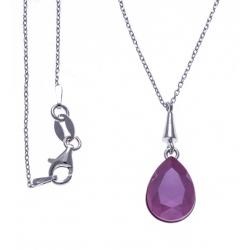 Collier argent rhodié 3,6g - cristal de Swarovski - peony pink - 40+5cm