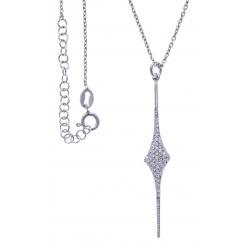 Collier argent rhodié 3,6g - zircons - hauteur 5cm - 38+5cm