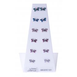 Présentoir 6 bos argent rhodié 3,6g - papillons multicolores