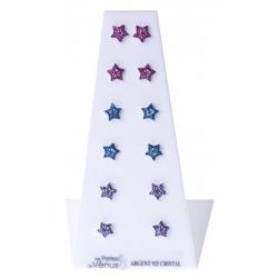 Présentoir 6 bos argent rhodié 3,6g - étoiles multicolores