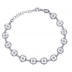 Bracelet argent rhodié 3,7g - ronds filigranés - 17+3cm